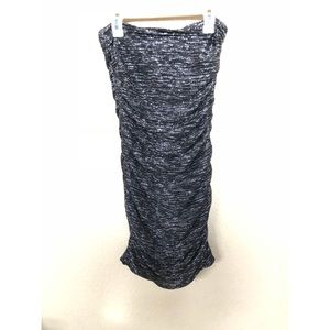 Strapless scrunch silver and black dress